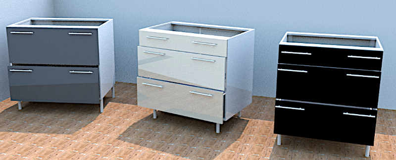 kitchen units Nelspruit, 2 drawer and 3 drawer Pot drawers.